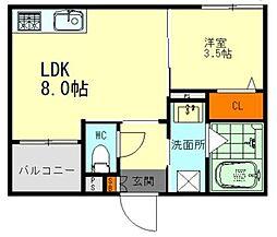 JR中央本線 新守山駅 徒歩6分の賃貸アパート 2階1LDKの間取り