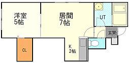 カナンコートIII 2階1LDKの間取り