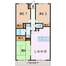 山梨県中央市西新居の賃貸マンションの間取り