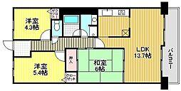 浅香山グリーンマンション[6階]の間取り