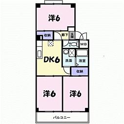サニーパレスI 4階3DKの間取り