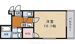阪急宝塚本線 蛍池駅 徒歩9分の賃貸アパート 2階ワンルームの間取り