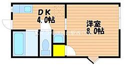 岡山県岡山市南区三浜町2丁目の賃貸アパートの間取り