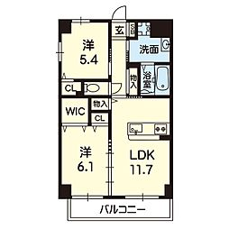 Viento島崎台II 3階2LDKの間取り