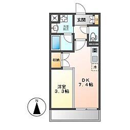 JR東海道本線 尾頭橋駅 徒歩17分の賃貸マンション 1階1DKの間取り