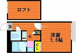 JR宇野線 宇野駅 徒歩25分の賃貸アパート 2階1Kの間取り