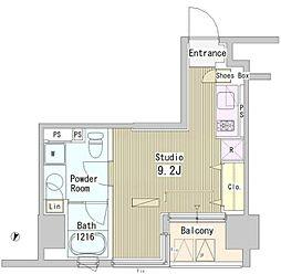 都営新宿線 市ヶ谷駅 徒歩7分の賃貸マンション 3階ワンルームの間取り