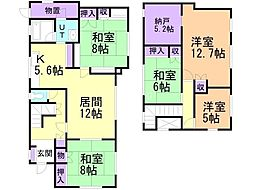 JR函館本線 上幌向駅 徒歩7分の賃貸一戸建て 2階5LDKの間取り