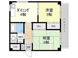 マンション暁紅園 4階2DKの間取り