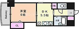 ノルデンハイム東三国 6階1DKの間取り