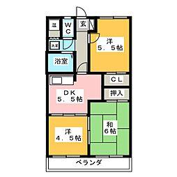二番街田神[2階]の間取り