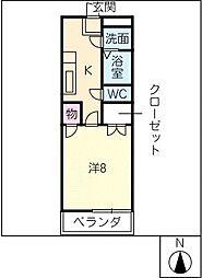マンション勝野[3階]の間取り
