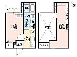 la glycine 神戸 1階1SKの間取り