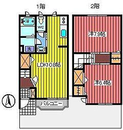 埼玉県さいたま市南区文蔵4丁目の賃貸アパートの間取り