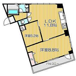 仙台市地下鉄東西線 大町西公園駅 徒歩8分の賃貸マンション 3階2LDKの間取り