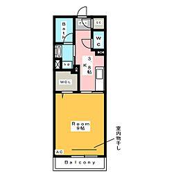 [新築] メゾン米津 1階1Kの間取り