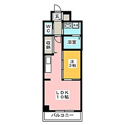 プランドール大供[11階]の間取り