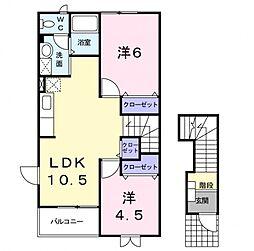埼玉県熊谷市肥塚1丁目の賃貸アパートの間取り