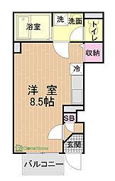 東京都八王子市七国1丁目の賃貸アパートの間取り