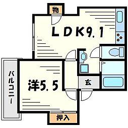 シャトー北野[2階]の間取り