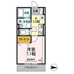 仮)D-room新川崎 3階1Kの間取り