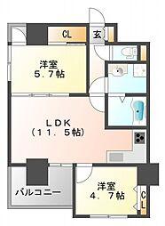 ノルデンハイム江坂アドバンス[4階]の間取り