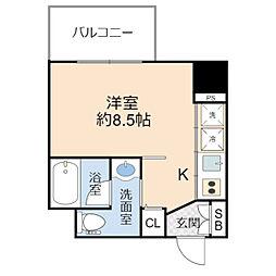 Innocent Doyama(イノセント堂山) 7階1Kの間取り