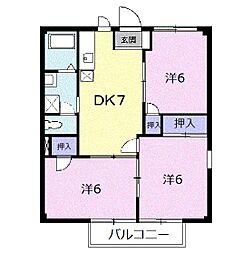 神奈川県小田原市高田の賃貸アパートの間取り