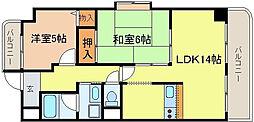 タウンコート咲久良[6階]の間取り