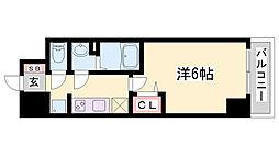 プレサンス兵庫駅前 11階1Kの間取り