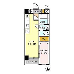 名古屋市営東山線 本山駅 徒歩3分の賃貸マンション 1階1LDKの間取り