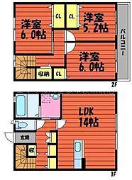 [テラスハウス] 岡山県倉敷市水江丁目なし の賃貸【/】の間取り