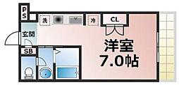 Osaka Metro長堀鶴見緑地線 玉造駅 徒歩8分の賃貸マンション 8階ワンルームの間取り
