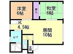 田園ハイツA 2階2LDKの間取り