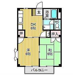 愛知県名古屋市中川区中郷5丁目の賃貸アパートの間取り