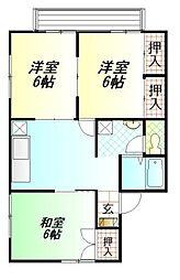静岡県御殿場市二の岡1丁目の賃貸アパートの間取り
