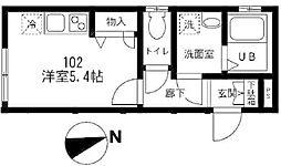 小田急小田原線 柿生駅 徒歩9分の賃貸アパート 1階ワンルームの間取り