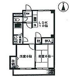 兵庫県たつの市龍野町末政の賃貸マンションの間取り