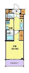 ディアレイシャス東京サウスパレス 2階1Kの間取り