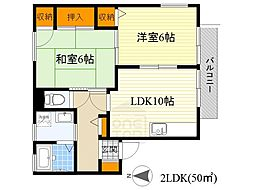 日恵ハイツA棟[2階]の間取り
