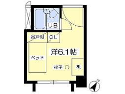 八木山スカイパンション 4階ワンルームの間取り