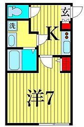 ル・レーヴ KASAI 3階1Kの間取り