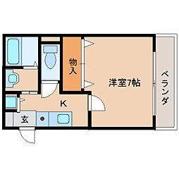奈良県奈良市右京3丁目の賃貸アパートの間取り