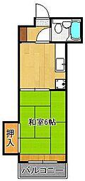 JR鹿児島本線 黒崎駅 徒歩10分の賃貸マンション 2階1DKの間取り
