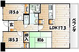 福岡県北九州市戸畑区沢見2丁目の賃貸マンションの間取り