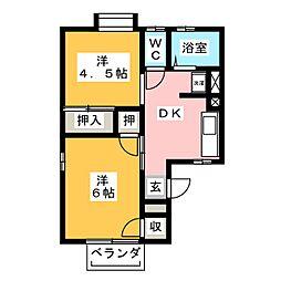 コーポ榛葉[1階]の間取り