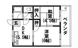 サンハイツ新田[205号室]の間取り