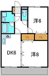 ジーオーシックス[2階]の間取り