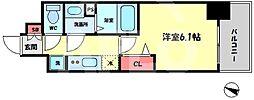 プレサンス梅田北アーリー 8階1Kの間取り