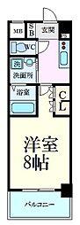 阪神本線 芦屋駅 徒歩6分の賃貸マンション 2階1Kの間取り